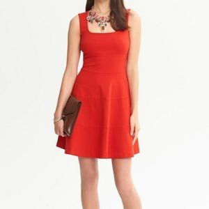 4 Banana Republic Red Ponte Fit and Flare Dress
